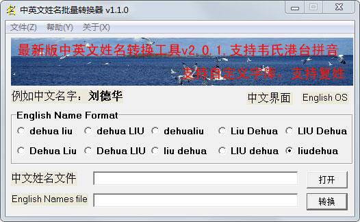 中英文姓名批量转换器