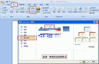 用word2007制作公司组织结构图的方法