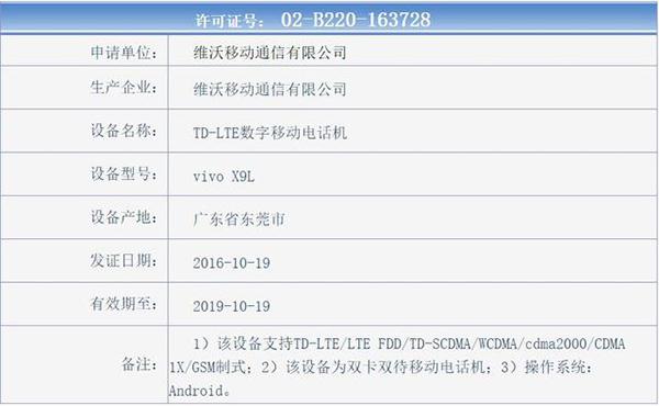 vivo X9   除此之外,尽管有网友在微博爆料称,vivo X9将采用最新双引擎闪充2.0(半个小时可以充满65%的电池),并据称是vivo自主研发,但从国家质量认证中心公布的3C认证名单中出现的vivo X9和X9L的充电器型号和输出规格来看,仍然与vivo X7系列相同,所以是否有双引擎闪充2.