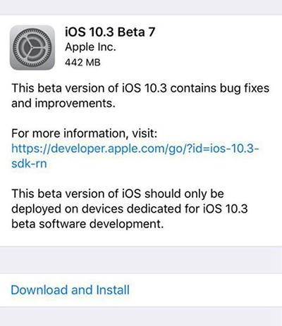 iOS10.3 Beta 7