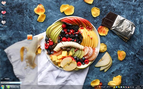 营养健康水果餐win7主题