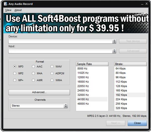 Soft4Boost Any Audio Record V5.1.9.497_免费录音软件