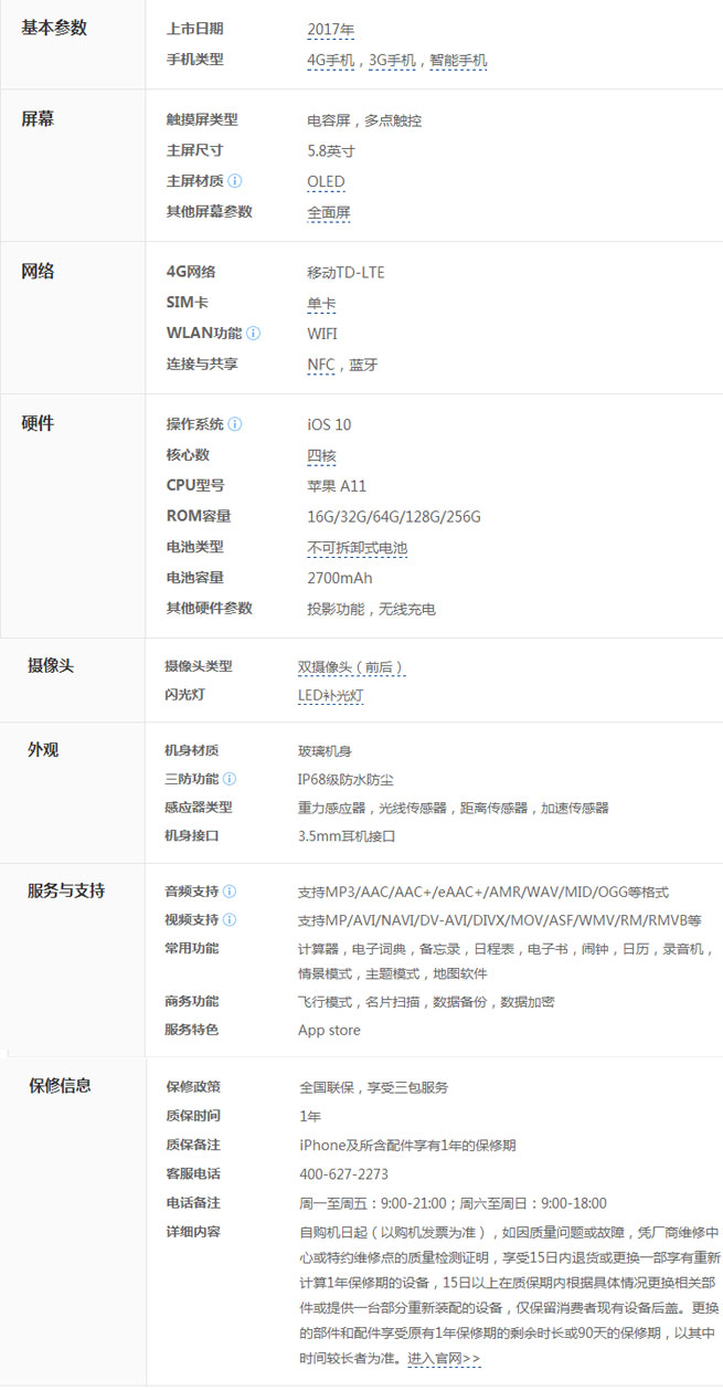 【iphone 8】价格_iphone8发布时间及参数手机参数