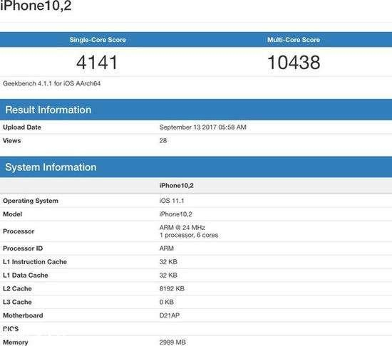 iPhone X跑分