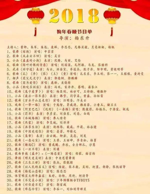 2018年春节联欢晚会节目单图片