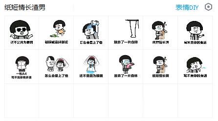 纸短情长渣男版QQ表情带你去吃表情东西包图片