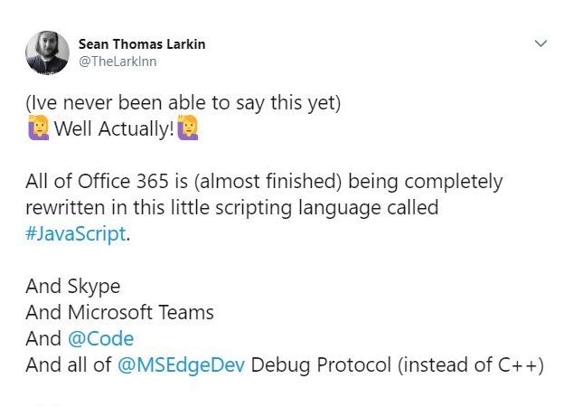 微软技术经理:Office 365正在用JavaScript重写