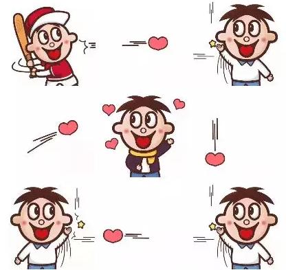 抖音上的九宫格旺仔发射爱心图片,拿去发朋友圈!