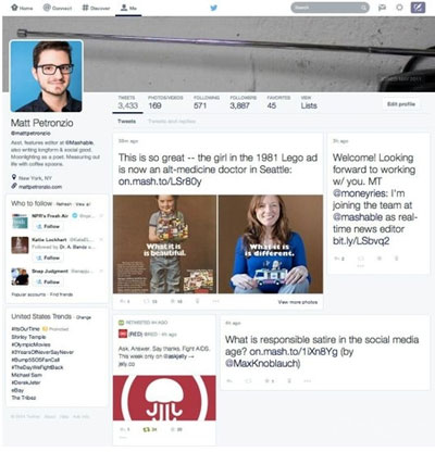 Twitter测试中的新版个人主页