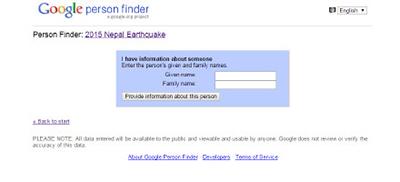 """谷歌发起""""寻人""""数据库"""